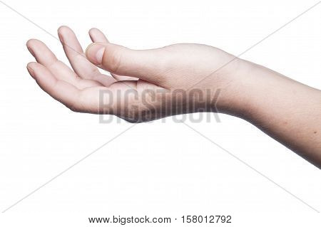 Gesture Indicating A Request Of Support, Isolated On A White Background