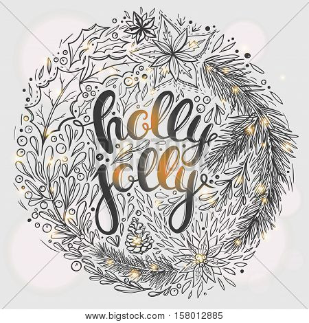 Christmas card with hand drawn lettering and floral wreath. Vector Christmas card with floral ornaments and season's greetings.