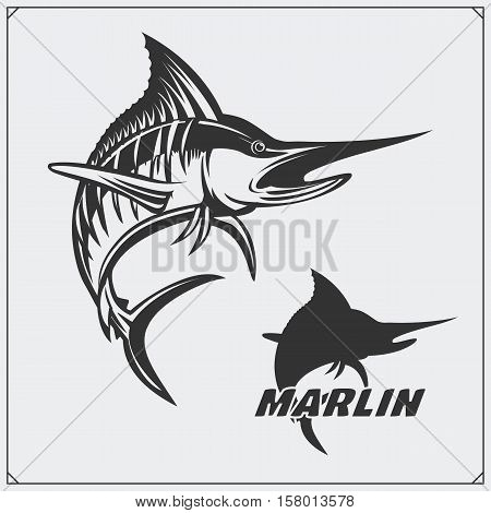 Vector illustration of a marlin fish and fishing design elements.