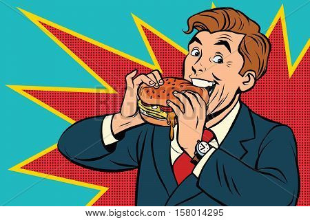 Pop art man eating a Burger, retro comic book vector illustration. The fast food advertising. Promo people