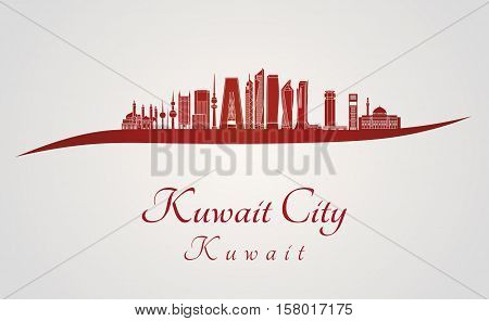 Kuwait City V2 Skyline In Red