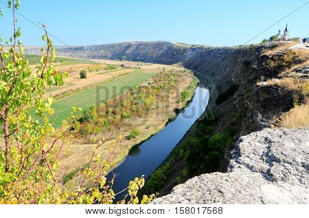 Landscape in Old Orhei region Moldova. Monastery's cave located in the caves in the rock