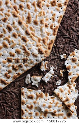 Matzah crackers traditionally eaten during the Jewish Passover holiday