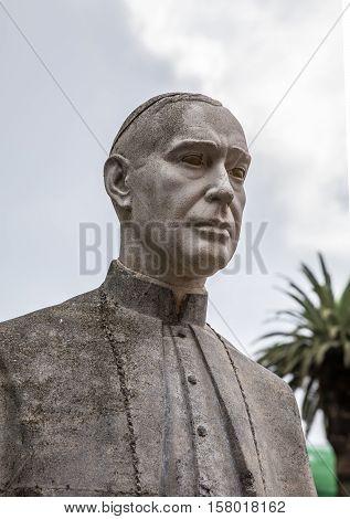 Statue of the bishop Domingo Perez Caceres in La Laguna (Tenerife, Spain)