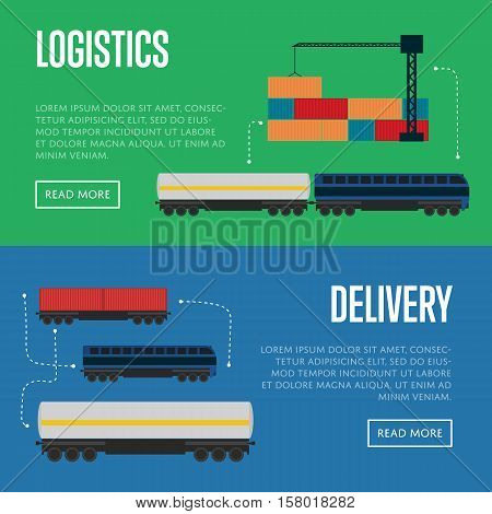 Logistics and delivery banner set vector illustration. Delivery template with freight train transportation. Logistic concept with cargo crane loading container. Freight service, shipping and storage