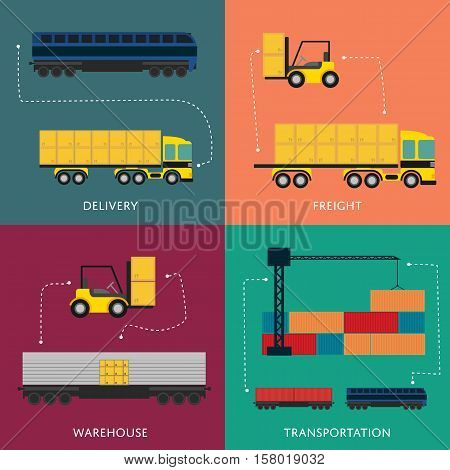 Warehouse and freight transportation banner set vector illustration. Forklift loading boxes in container truck, freight crane loading cargo train. Delivery service, global transportation company icons