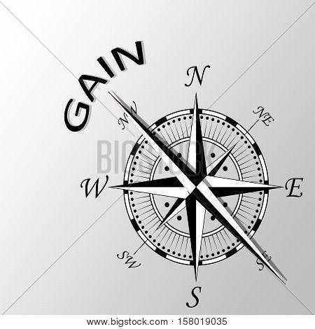 Illustration of gain word written aside compass