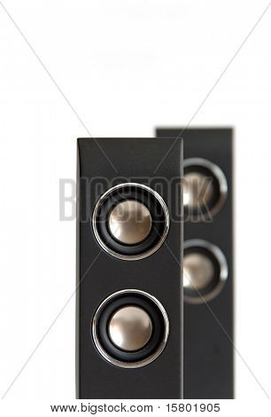 Pair of black speakers on white background.