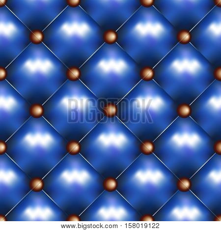 Vector leather seamless background. Blue pinned sofa or couch leather texture. Rhombus pattern and brass buttons decoration