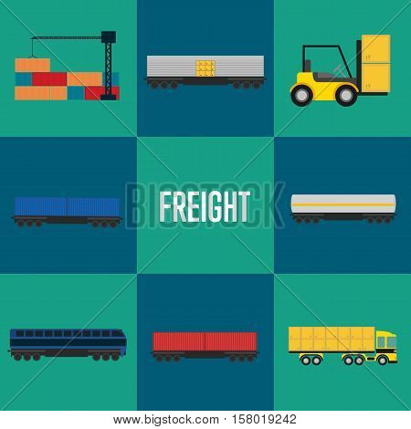 Freight transportation icon set vector illustration. Cargo crane loading container, forklift with packing boxes, cargo train, freight container truck icons. Warehouse logistics and delivery business
