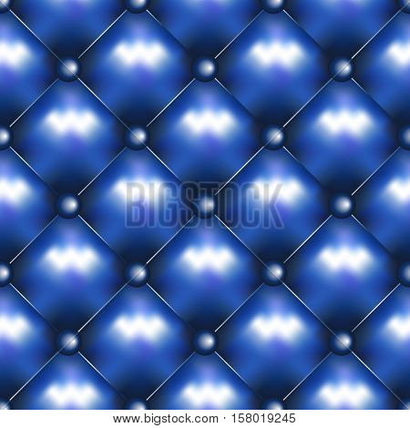 Vector leather seamless background. Pinned sofa or couch leather texture. Rhombus pattern and blue buttons decoration