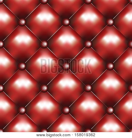 Vector leather seamless background. Red pinned sofa or couch leather texture. Rhombus pattern and red buttons decoration