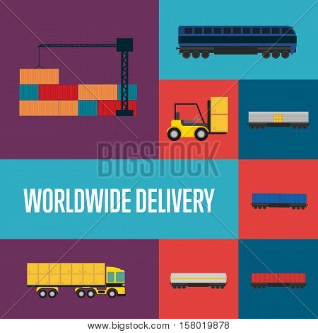 Worldwide delivery icon set isolated vector illustration. Cargo crane loading container, forklift with boxes, cargo train, freight container truck icons. Global transportation and delivery business