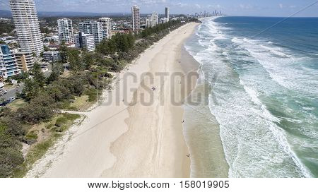 Aerial view looking north up Burleigh beach at sunrise. Gold Coast, Australia