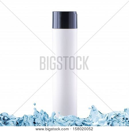 Shampoo with moisturising effect in white bottle with copy space in water splash isolated on white