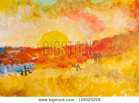 illustration painted by hand with watercolors - sun in yellow and pink sky on horizon over hot red and yellow sands of desert