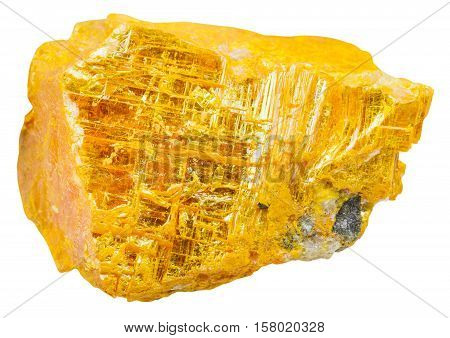 Yellow Orpiment Piece Isolated On White