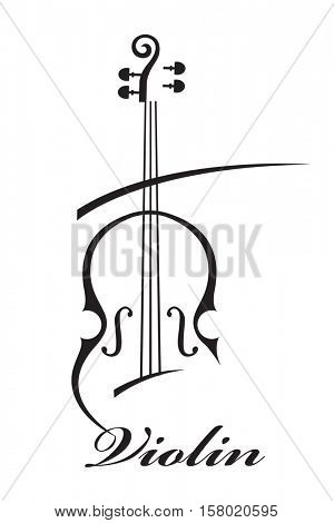 abstract monochrome illustration of violin with text
