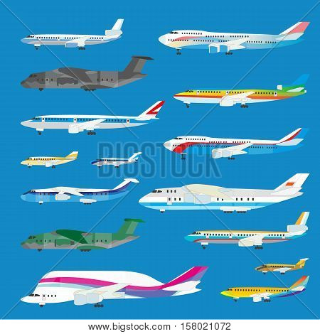 Different airplane aircraft set. Personal airplane, cargo. Airplane side view illustration.