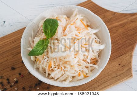The Sauerkraut In Ceramic Bowl