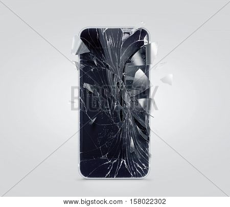 Broken mobile phone screen, scattered shards. Smartphone display crashed and scratched. Device destroy problem. Smash gadget, repair.