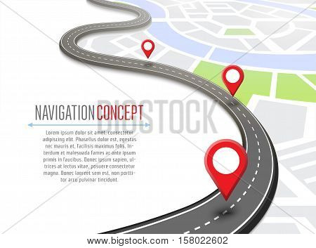 Navigation concept with pin pointer vector illustration. Cartography mapping, ui pinning, discovery, geotag, tourism geolocation. GPS navigation system banner. Location pin on perspective city map. Abstract navigation concept.