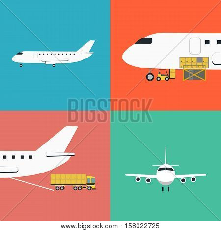 Air shipping and logistics icons vector illustration. Forklift loading cargo jet airplane, commercial truck. Worldwide logistics, delivery transportation, global commercial airlines, shipping company