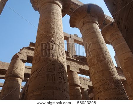 Columns of the Karnak Temple Complex, Luxor, Egypt