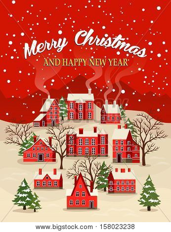 Marry Christmas and Happy New Year greeting card vector illustration. Houses in snowfall, rural winter landscape at holiday. Xmas poster with red brick christmas houses, snow covered little village