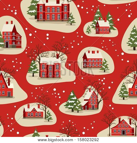 Marry Christmas and Happy New Year seamless pattern vector illustration. Houses in snowfall, rural winter landscape at holiday. Xmas background with red brick christmas houses and snow covered tree