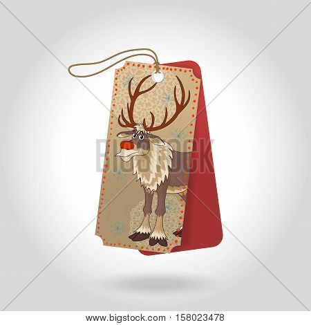 Cute Christmas gift tags with red nose reindeer and decoration snowflakes. Vector illustration