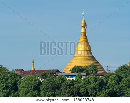 U Rit Taung Pagoda at Ponnagyun along Kaladan River in the Rakhine State of Myanmar.