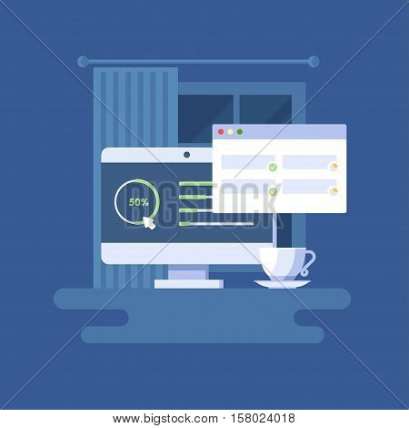 Vector illustration of monoblock. The computer and a cup of coffee on the background of window. Isolated clip art of personal computer and program window with user interface. Designer workspace.