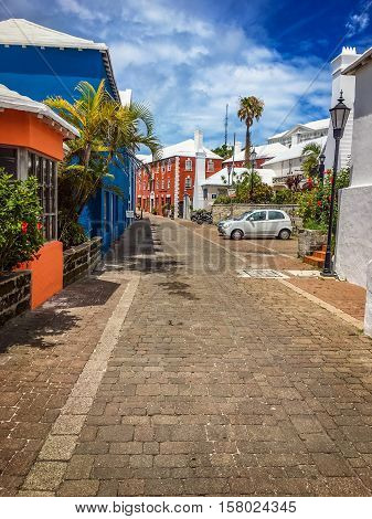 ST.GEORGEBERMUDA MAY 27 - Colorful style architecture and white roof shops of St. George are typical of the island on May 27 2016 in Bermuda.