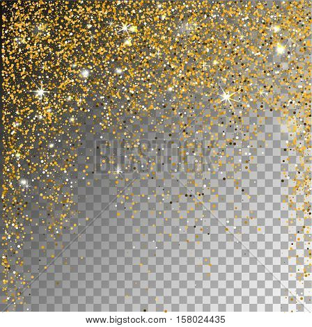 Falling snow gold glitter particles on a transparent sparcle background. Abstract snowflake background. Vector illustration