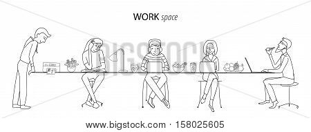 Work space, office, coworking, team work concept, thin line style vector