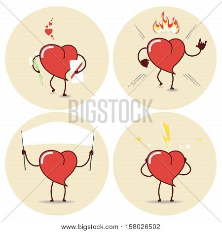 Heart cartoon icons set. Love burn agitation heart beat. Vector
