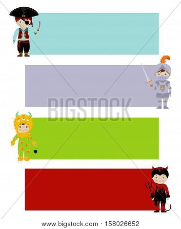 Set of vector horizontal banners with cute kids in fancy costumes of monster, devil, pirate and knight, Ready for your message.