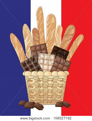 an illustration of a basket of long french loaves with bars of milk plain and white chocolate on a french flag background