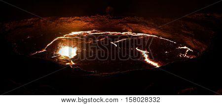 Panorama of Erta Ale volcano crater melting lava Danakil depression Ethiopia poster