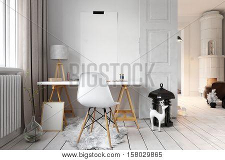 3D rendering of apartment office with hardwood floor in minimalist modern Scandinavian interior design