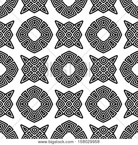 Seamless Geometric Greek Ornament. Square Wave Forms in Greek Style.