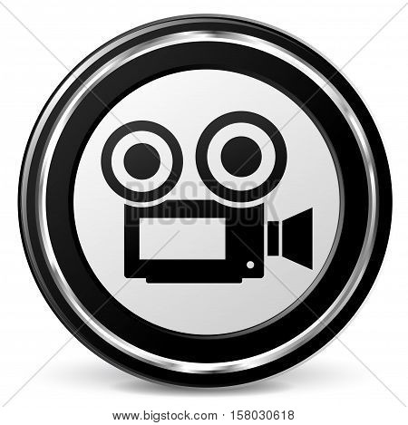 Illustration of video icon on white background