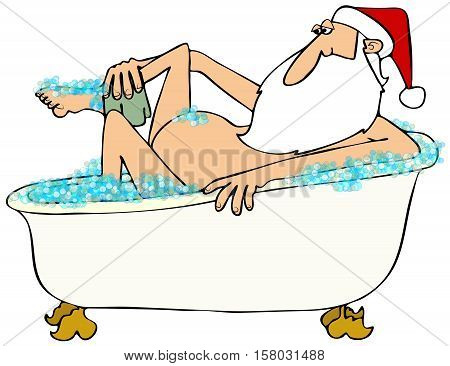 Illustration of Santa Claus taking a bubble bath in an old fashioned tub.