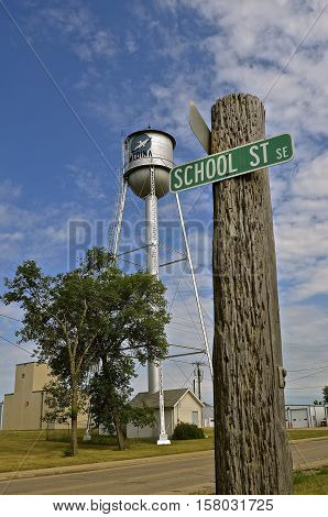 MEDINA, NORTH DAKOTA, July 1, 2016:  The street signs and water tower are from Medina, North Dakota, a real city of 300 people and founded in 1899.