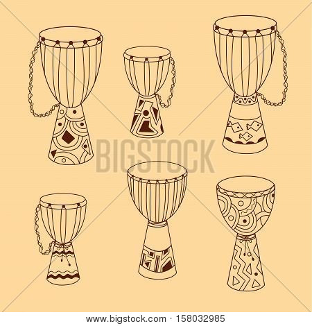 African djembe set. Hand drawn ethnic drums. Six sketchy instruments with different size and decoration. Vector EPS10 doodle.