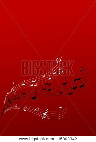Flying music on red background. Vector art.