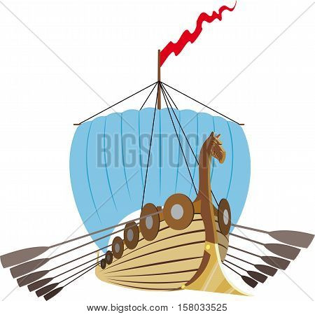 Battle ancient Viking ship under blue sail, red flag and oars isolated on white background.