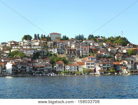 Old city on the shore of Lake Ohrid, UNESCO World Heritage Site in Republic of Macedonia