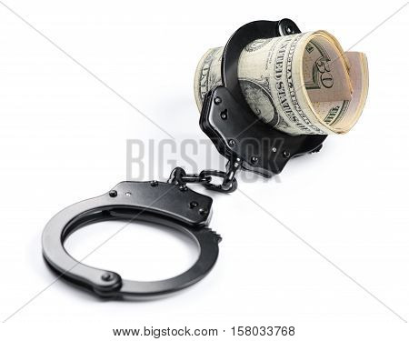 Money And Handcuffs Isolated